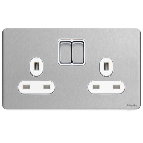 GU3420WSS Ultimate screwless flat plate stainless steel white insert 2 gang 13A switched socket