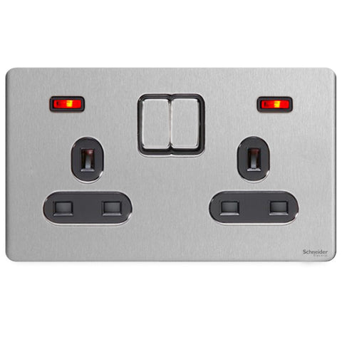 GU3421BSS Ultimate screwless flat plate stainless steel black insert 2 gang 13A switched + neons socket