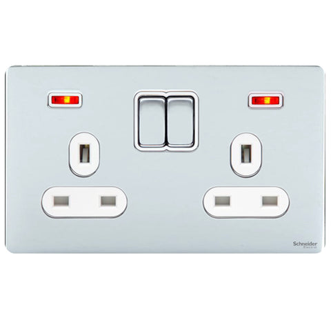 GU3421WPC - Ultimate Screwless Flat Plate 2 Gang 13A Switched + Neons Socket Polished Chrome White Insert