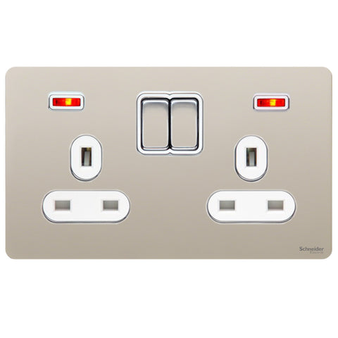 GU3421WPN Ultimate screwless flat plate pearl nickel white insert 2 gang 13A switched + neons socket