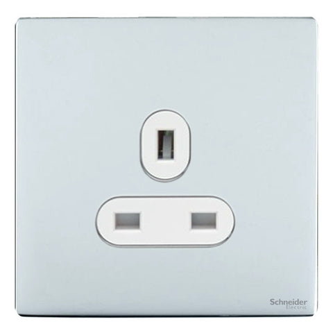 GU3450WPC Ultimate screwless flat plate polished chrome white insert 1 gang 13A unswitched socket