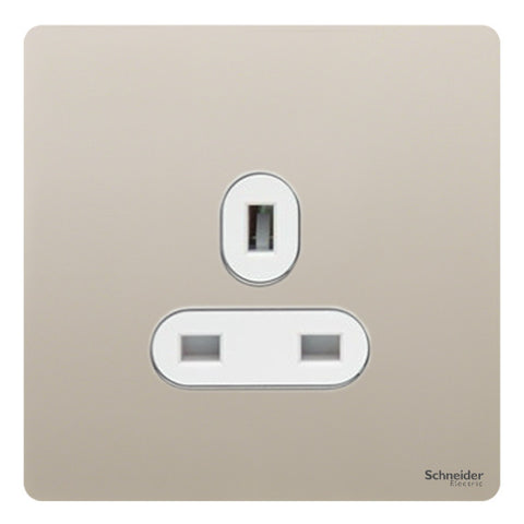 GU3450WPN Ultimate screwless flat plate pearl nickel white insert 1 gang 13A unswitched socket