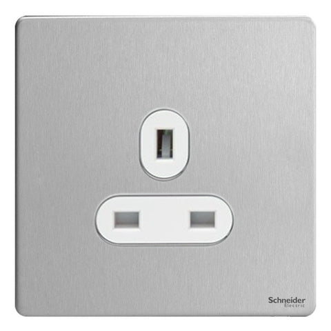 GU3450WSS Ultimate screwless flat plate stainless steel white insert 1 gang 13A unswitched socket