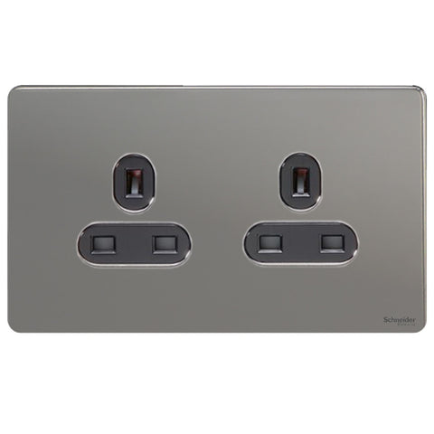 GU3460BBN Ultimate screwless flat plate black nickel black insert 2 gang 13A unswitched socket