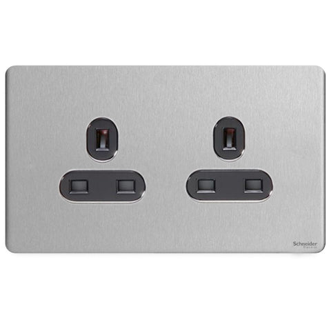 GU3460BSS Ultimate screwless flat plate stainless steel black insert 2 gang 13A unswitched socket