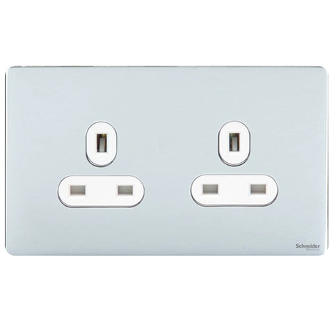 GU3460WPC Ultimate screwless flat plate polished chrome white insert 2 gang 13A unswitched socket