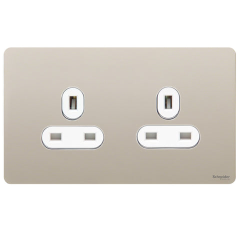 GU3460WPN Ultimate screwless flat plate pearl nickel white insert 2 gang 13A unswitched socket