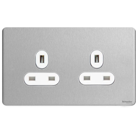 GU3460WSS Ultimate screwless flat plate stainless steel white insert 2 gang 13A unswitched socket