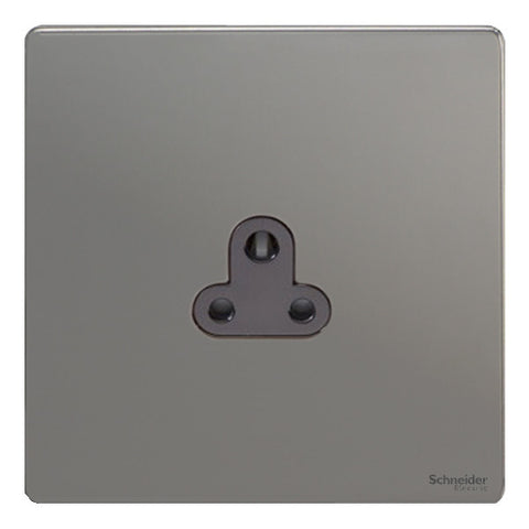 GU3470BBN Ultimate screwless flat plate black nickel black insert 1 gang 2A round pin unswitched socket