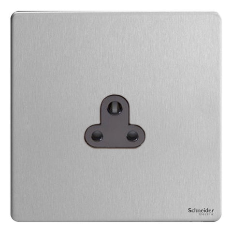 GU3470BSS Ultimate screwless flat plate stainless steel black insert 1 gang 2A round pin unswitched socket