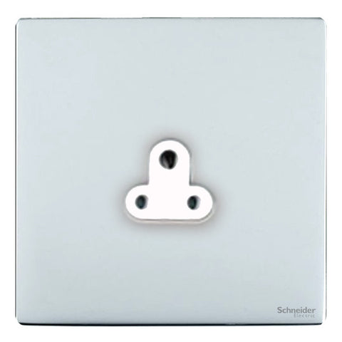 GU3470WPC Ultimate screwless flat plate polished chrome white insert 1 gang 2A round pin unswitched socket