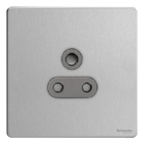 GU3480BSS Ultimate screwless flat plate stainless steel black insert 1 gang 5A round pin unswitched socket