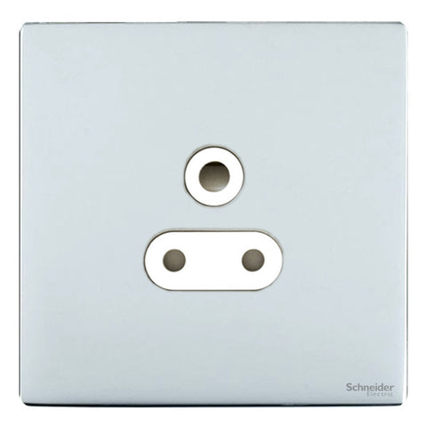 GU3480WPC Ultimate screwless flat plate polished chrome white insert 1 gang 5A round pin unswitched socket