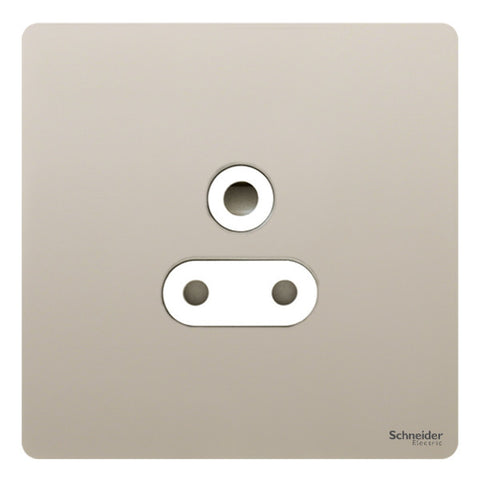 GU3480WPN Ultimate screwless flat plate pearl nickel white insert 1 gang 5A round pin unswitched socket