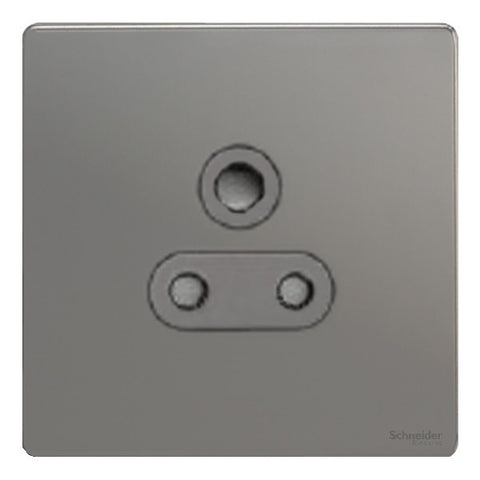 GU3490BBN Ultimate screwless flat plate black nickel black insert 1 gang 15A round pin switched socket