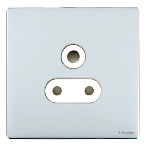 GU3490WPC Ultimate screwless flat plate polished chrome white insert 1 gang 15A round pin switched socket
