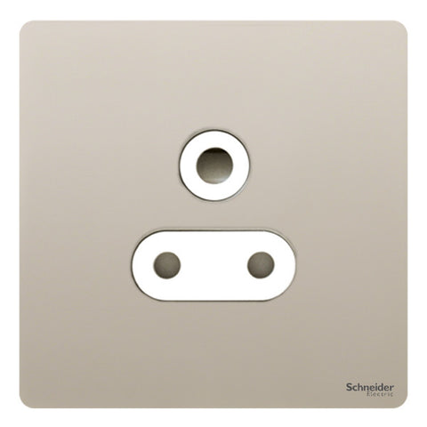 GU3490WPN Ultimate screwless flat plate pearl nickel white insert 1 gang 15A round pin switched socket