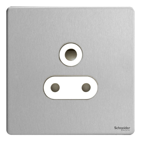 GU3490WSS Ultimate screwless flat plate stainless steel white insert 1 gang 15A round pin switched socket