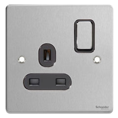 GU3510BBC Ultimate low profile brushed chrome black insert 1 gang 13A switched socket