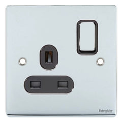 GU3510BPC Ultimate low profile polished chrome black insert 1 gang 13A switched socket