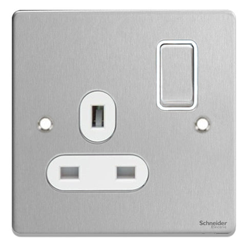 GU3510WBC Ultimate low profile brushed chrome white insert 1 gang 13A switched socket