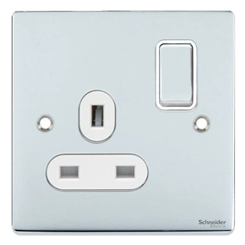 GU3510WPC Ultimate low profile polished chrome white insert 1 gang 13A switched socket