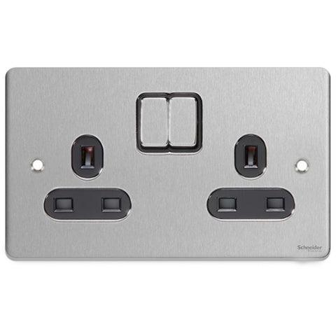 GU3520BBC Ultimate low profile brushed chrome black insert 2 gang 13A switched socket
