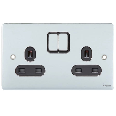 GU3520BPC Ultimate low profile polished chrome black insert 2 gang 13A switched socket