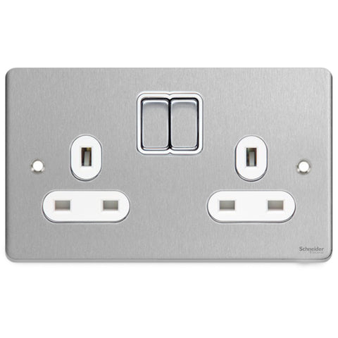 GU3520WBC Ultimate low profile brushed chrome white insert 2 gang 13A switched socket