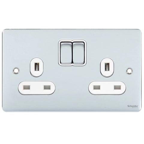 GU3520WPC Ultimate low profile polished chrome white insert 2 gang 13A switched socket