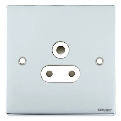 GU3580WPC Ultimate low profile polished chrome white insert 1 gang 5A round pin unswitched socket