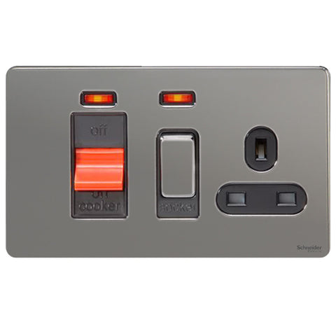 GU4401BBN Ultimate screwless flat plate black nickel black insert 45A cooker control unit + neon