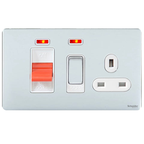 GU4401WPC Ultimate screwless flat plate polished chrome white insert 45A cooker control unit + neon