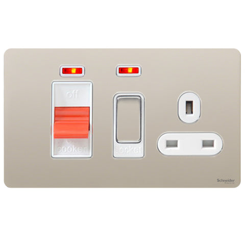 GU4401WPN Ultimate screwless flat plate pearl nickel white insert 45A cooker control unit + neon
