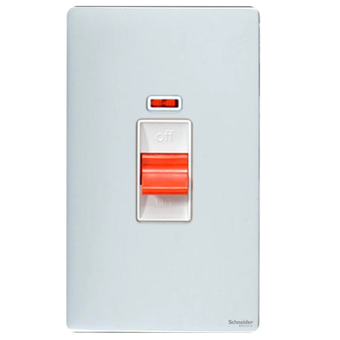 GU4421WPC Ultimate screwless flat plate polished chrome white insert 2 gang 50A DP plate switch + neon