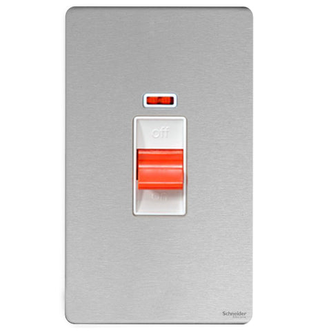 GU4421WSS Ultimate screwless flat plate stainless steel white insert 2 gang 50A DP plate switch + neon