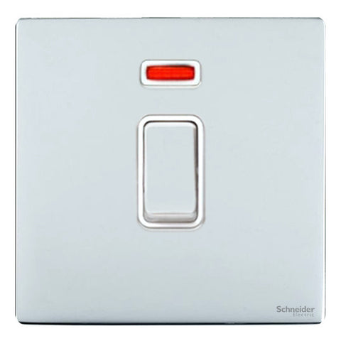 GU4431WPC Ultimate screwless flat plate polished chrome white insert 1 gang 32A DP plate switch + neon
