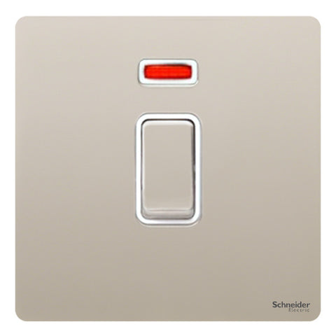 GU4431WPN Ultimate screwless flat plate pearl nickel white insert 1 gang 32A DP plate switch + neon