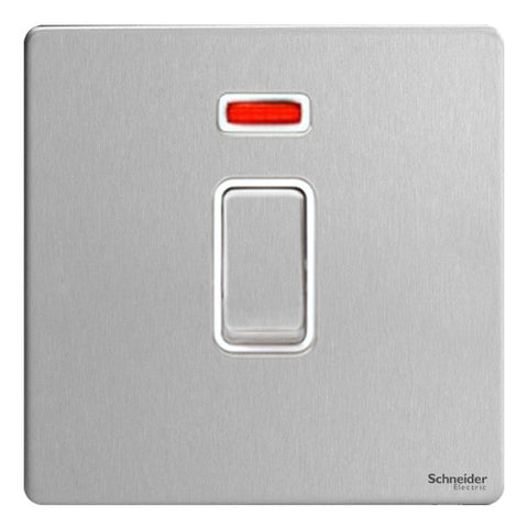 GU4431WSS Ultimate screwless flat plate stainless steel white insert 1 gang 32A DP plate switch + neon