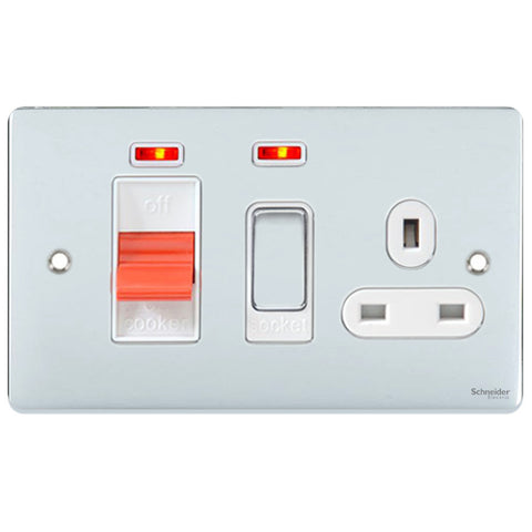 GU4501WPC Ultimate low profile polished chrome white insert 45A cooker control unit + neon