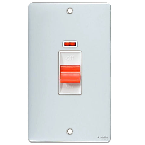 GU4521WPC Ultimate low profile polished chrome white insert 2 gang 50A DP plate switch + neon