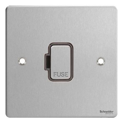 GU5200BSS Ultimate flat plate stainless steel black insert 13A unswitched fused connection unit