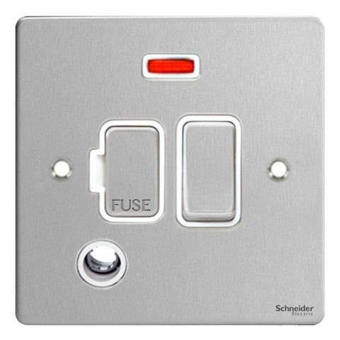 GU5214WSS Ultimate flat plate stainless steel white insert 13A switched + neon + flex outlet fused connection unit