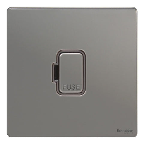 GU5400BBN Ultimate screwless flat plate black nickel black insert 13A unswitched fused connection unit