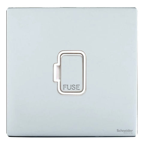 GU5400WPC Ultimate screwless flat plate polished chrome white insert 13A unswitched fused connection unit