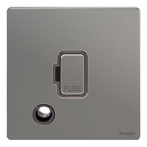 GU5403BBN Ultimate screwless flat plate black nickel black insert 13A unswitched + flex outlet fused connection unit