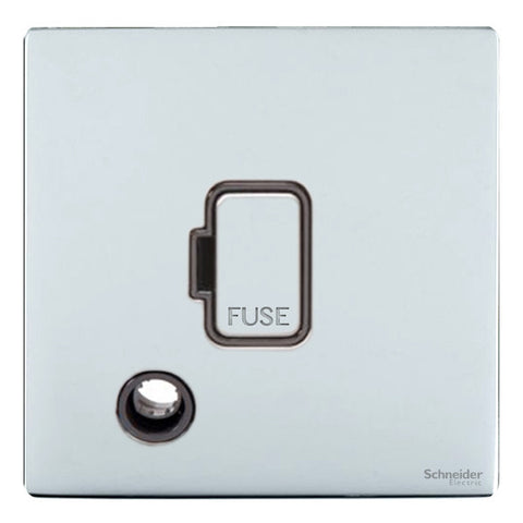 GU5403BPC Ultimate screwless flat plate polished chrome black insert 13A unswitched + flex outlet fused connection unit