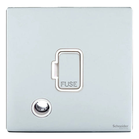 GU5403WPC Ultimate screwless flat plate polished chrome white insert 13A unswitched + flex outlet fused connection unit