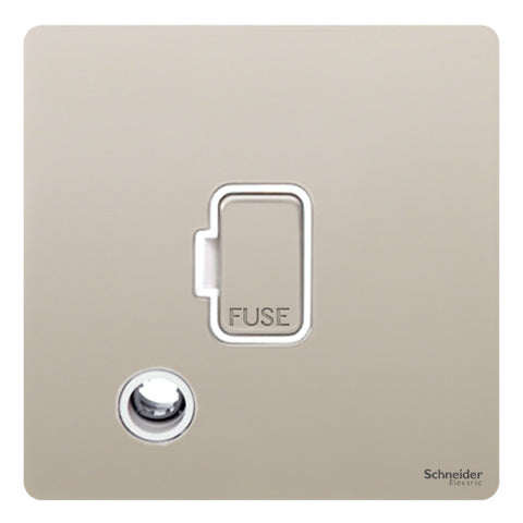 GU5403WPN Ultimate screwless flat plate pearl nickel white insert 13A unswitched + flex outlet fused connection unit