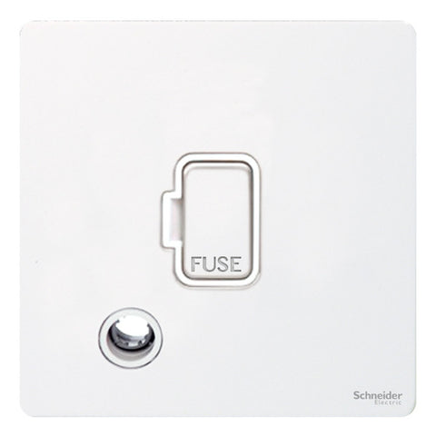 GU5403WPW Ultimate screwless flat plate white metal white insert 13A unswitched + flex outlet fused connection unit
